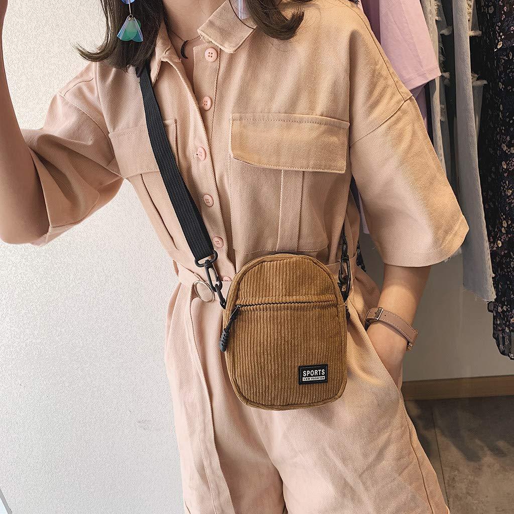 Jauntly Women's Canvas Wild Fashion Messenger Bag Shoulder Bag Travel Bag Belt Bag Party Shopping (Khaki) by Jauntly (Image #2)