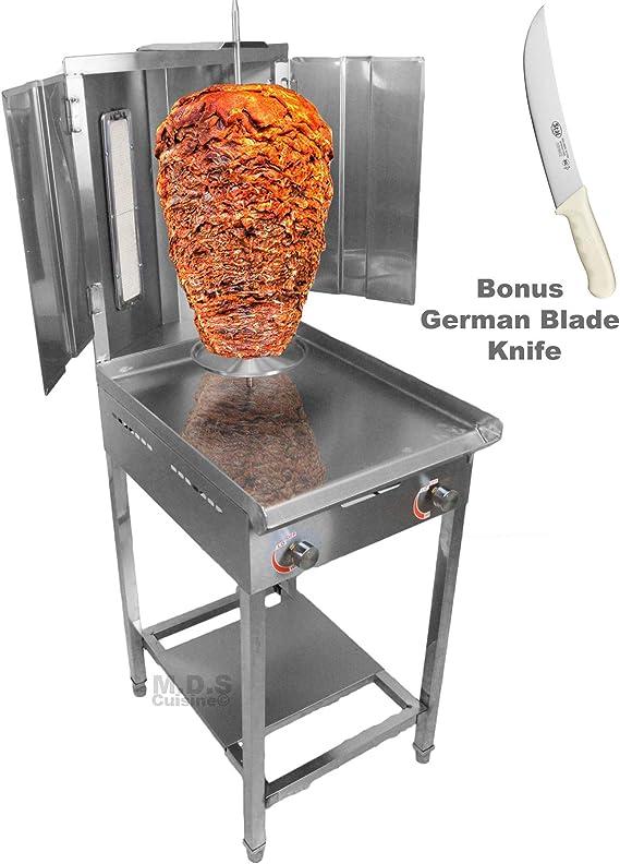 Trompo Para Tacos Al Pastor quemador de gas de propano infrarrojo doble con rejilla de acero inoxidable de 24,1 cm cuchillo pastor y soporte: Amazon.es: Hogar
