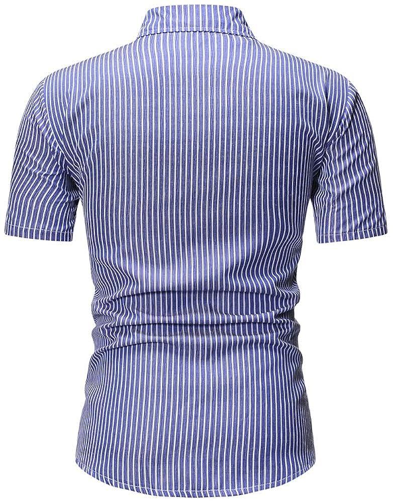 TuGui Mens Casual Stripe Short Sleeve Lapel Button-Down Shirts