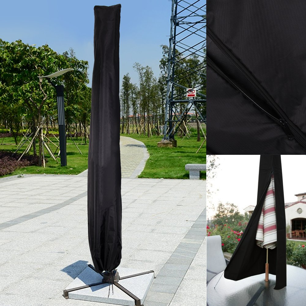 DHOUTDOORS Parasol Umbrella Cover Weatherproof Banana Cantilever Outdoor Garden Protective Umbrella Cover Black 2.3m oem