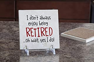 product image for Imagine Design Relatively Funny I Don't Always Enjoy Being Retired, Travertine Coaster, Red/White/Black