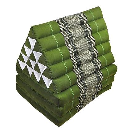Cojín triangular, alfombra tailandesa, esterilla, verde ...