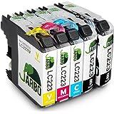 JARBO Compatibles Brother LC223 Cartouche d'encre Grande capacité Compatible avec Brother DCP-J4120DW DCP-J562DW MFC-J480DW J680DW J880DW J4420DW J4620DW J4625DW J5320DW J5620DW J5625DW J5720DW (2 Noir,1 Cyan,1 Magenta,1 Jaune)