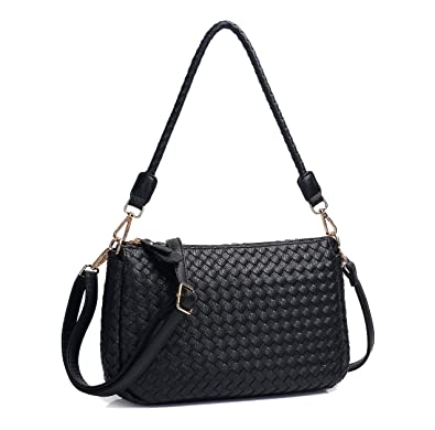 9b301bb95817d Amazon.com  Jeelow Small Crossbody Hobo Bags Purses Shoulder Bags PU Leather  For Women 2 Sets of Straps (Black)  Shoes