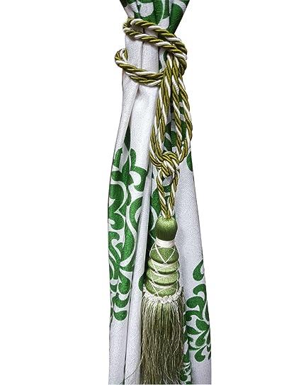 Kunal Enterprises Set Of 2 Beautiful Curtain Tie Backs (Tassels_Green)