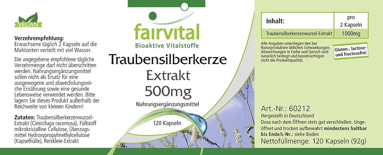 fairvital - Cimífuga - Extracto de Cohosh Negro - 120 cápsulas vegetarianas - Sin aditivos - 500 mg: Amazon.es: Salud y cuidado personal