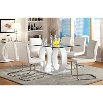 Furniture of America Damore Contemporary 7 Piece High Gloss Dining Table Set - White  sc 1 st  Amazon.com : high gloss dining table sets - pezcame.com