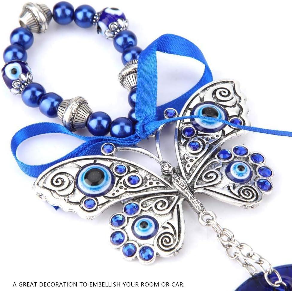 Hztyyier Perle Blu malocchio Perline Ornamento amuleto Delicato Ciondolo in Vetro Blu casa Protezione fortunata Appeso a Parete Decor D