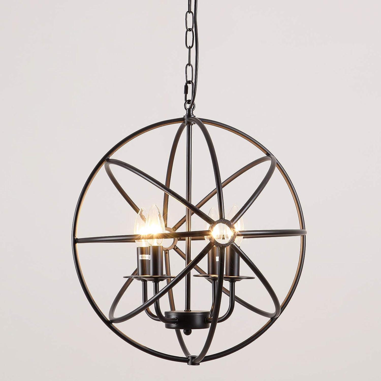 AIDOS Industrial Vintage Retro LOFT Style Wrought Iron Metal Globe Cage Round Pendant Lamp Fixture Pendant Light Chandelier use 4 E14 Blubs