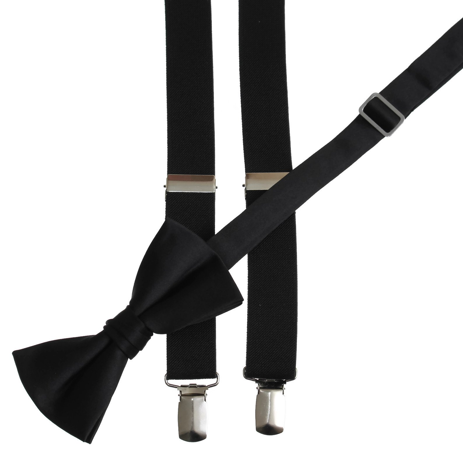 Matching Black Adjustable Suspender and Bow Tie Sets, Kids to Adults Sizing (40'' Youth Ages 12-15)