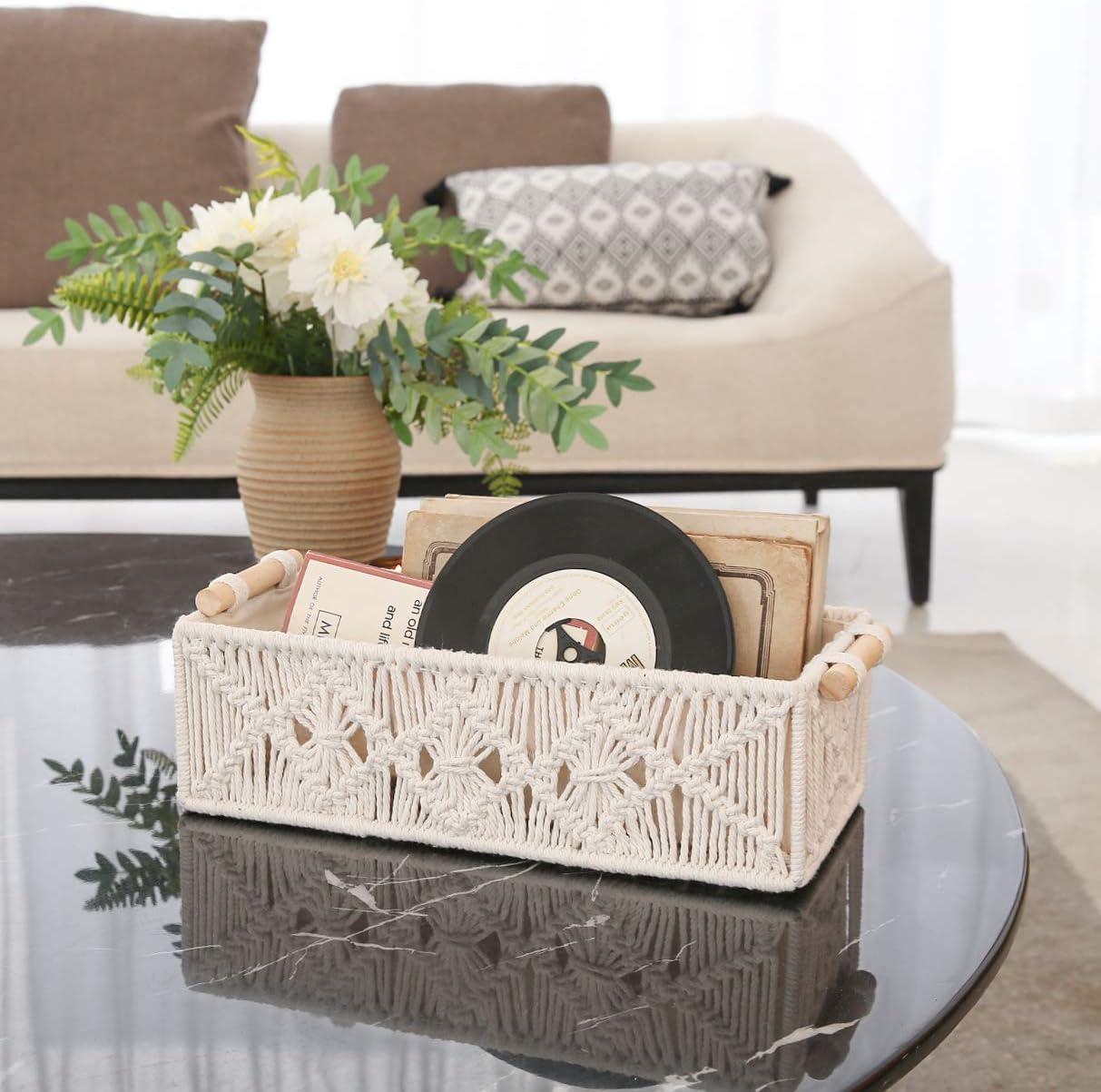 Mkono Macrame Storage Baskets Decor Box Handmade Woven Decorative Countertop Toilet Tank Shelf Cabinet Organizer Boho Decor for Bedroom Nursery Livingroom Set of 2 Brown