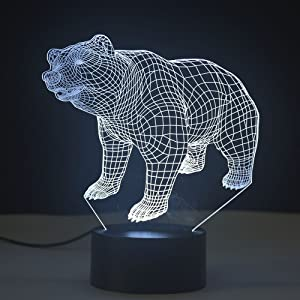 3D Night Lamp Optical Illusion Light 7 Color Changing Touch Table Desk Lamps with USB Cable for Birthday Gifts for Boys Home Decor Lamp (Bear)