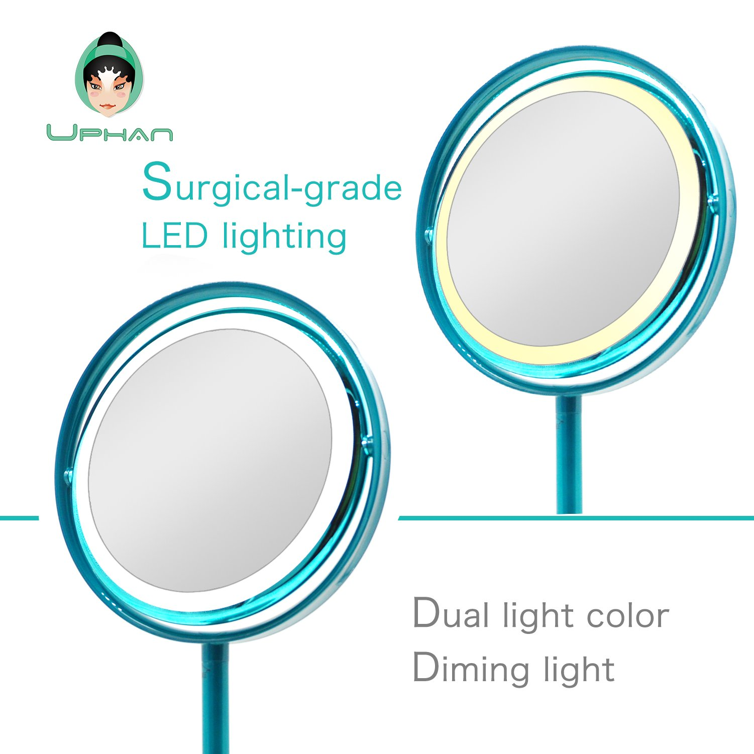 UPHAN U7 Surgical Grade Lighted Makeup Mirrors, 7 inch Luxury Dual Light Color Dimming Light with 5X Detail Mirror, Malachite green ¡­ (Surgical Grade) by UPHAN (Image #3)