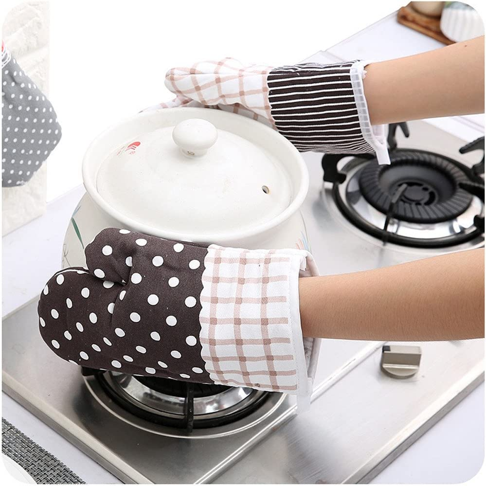 CreazyBee Kitchen Cooking Cotton Microwave Oven Gloves Mitts Pot Pad Heat Proof Protected