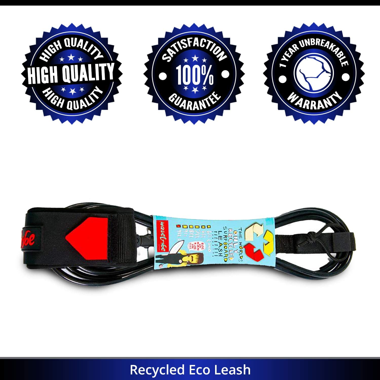 Stainless Steel Triple Swivel Wave Tribe ECO Surfboard Leash Strong Like Bull Never Break Leash Rope Key Pocket Premium Surf Leash Leash Good for Planet Rail Saver Heal The Oceans Campaign