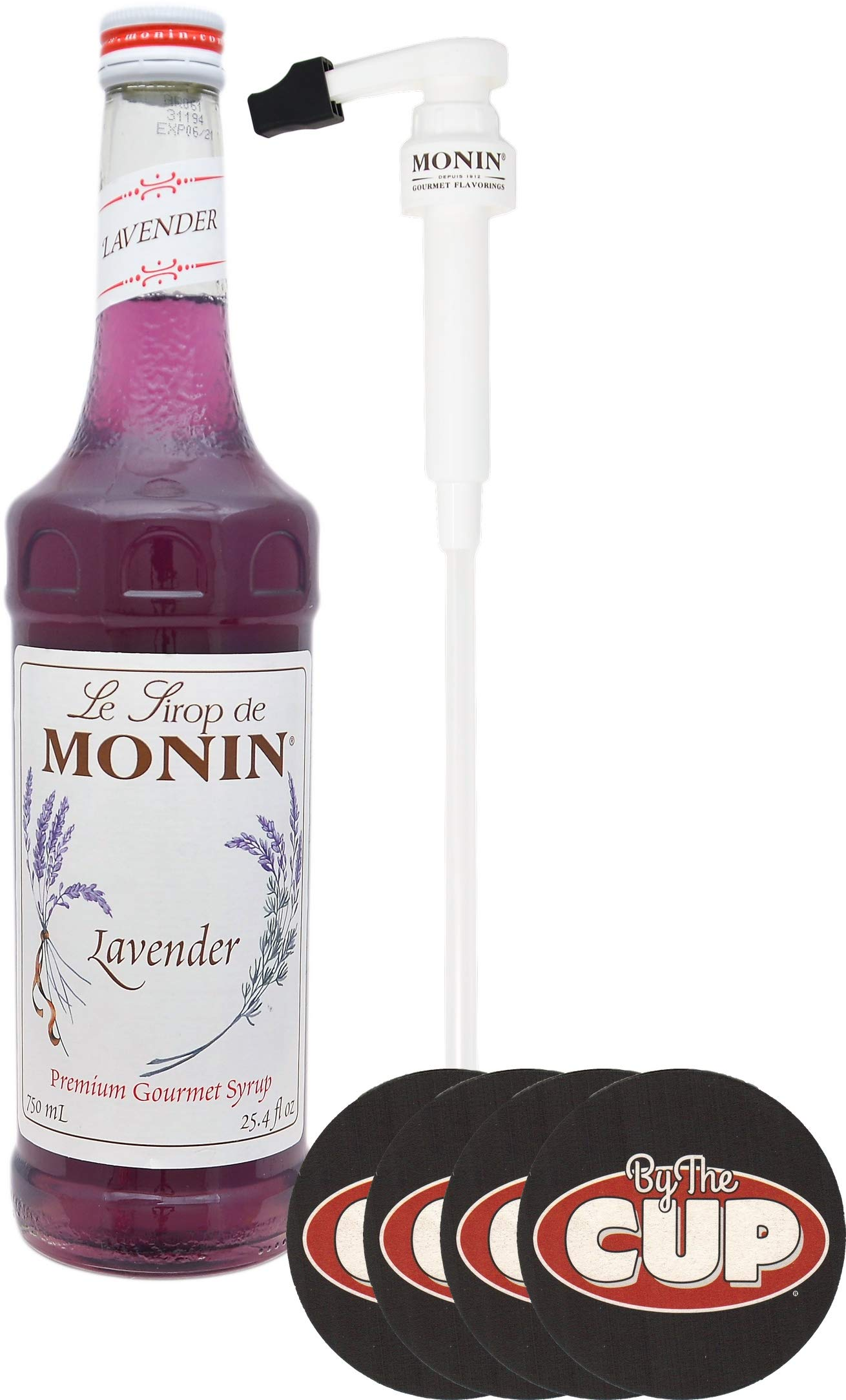 Monin Lavender Coffee Flavoring Syrup, 750 ML Bottle, with a Set of By The Cup Coasters and Syrup Pump