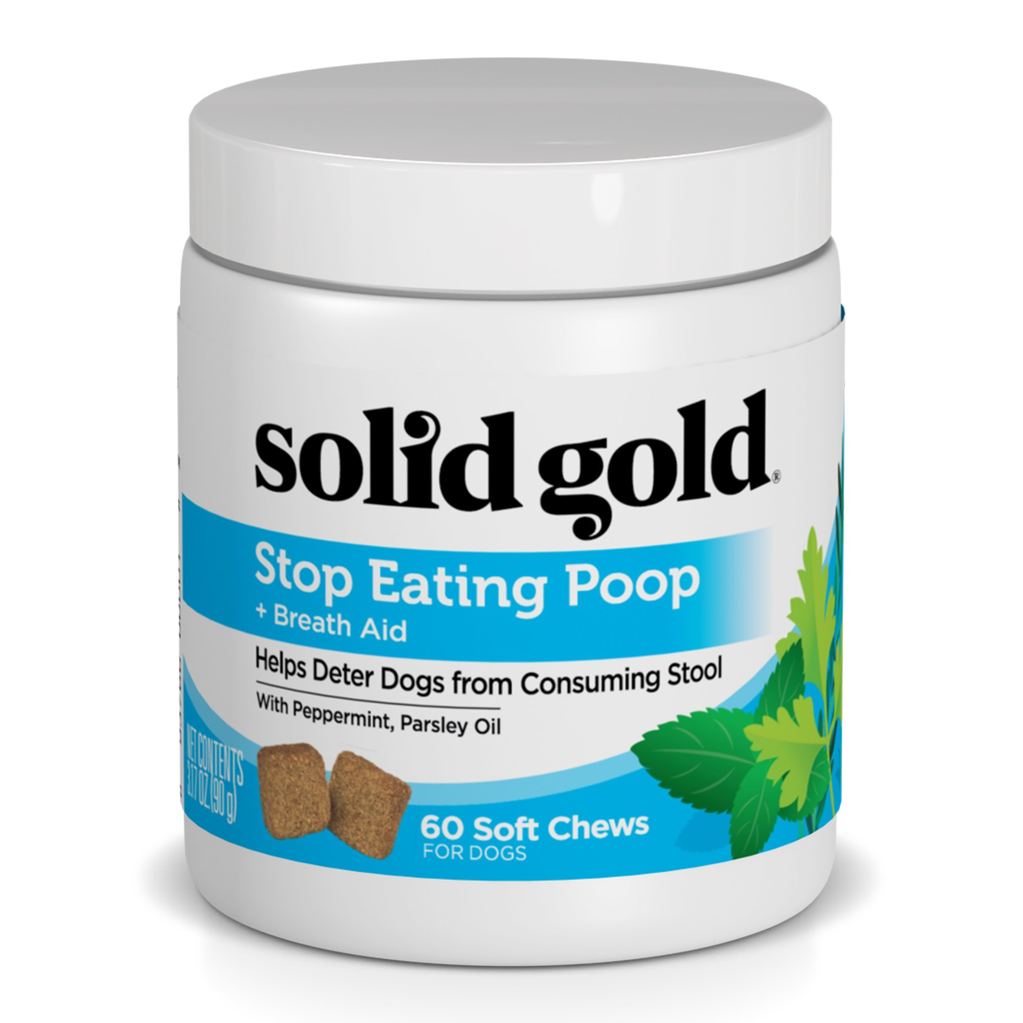Solid Gold Stop Eating Poop for dogs with Coprophagia; Natural, Grain-Free Supplement Chews with Peppermint, 60 ct