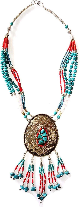 Moda étnico tribal tibetano plateado fino collar hecho a mano para las mujeres turquesa y coral con piedras preciosas con cuentas único diseñador collar hermosa gargantilla collar boho joyería