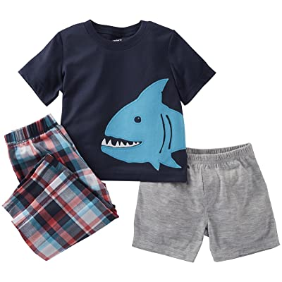 Carter's 3 Piece Plaid Set (Baby) - Fish-18 Months