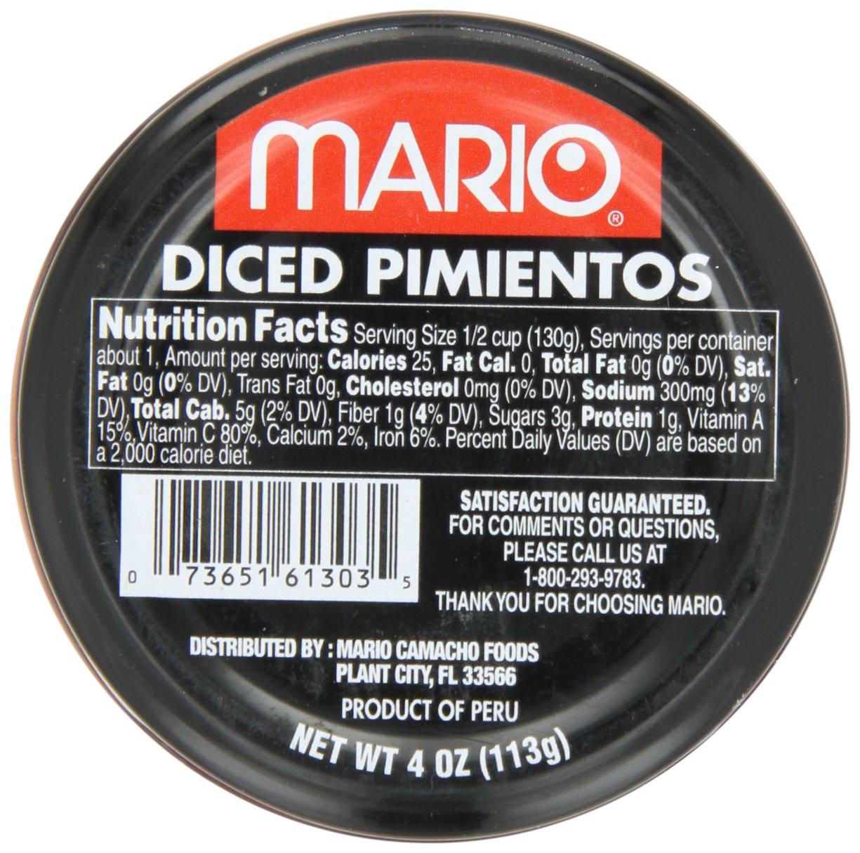 Mario Camacho Diced Pimientos, 4-Ounce Jars (Pack of 12)