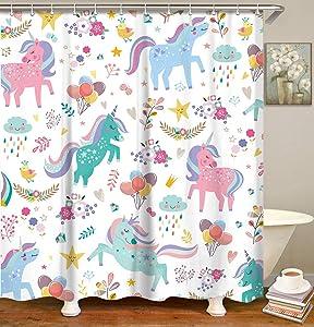 LIVILAN Unicorn Kids Shower Curtain Set with 12 Hooks, Colorful Girl Baby Fabric Bath Curtain, Cute Cartoon Animal Modern Bathroom Decor, White, Machine Washable (White, 72