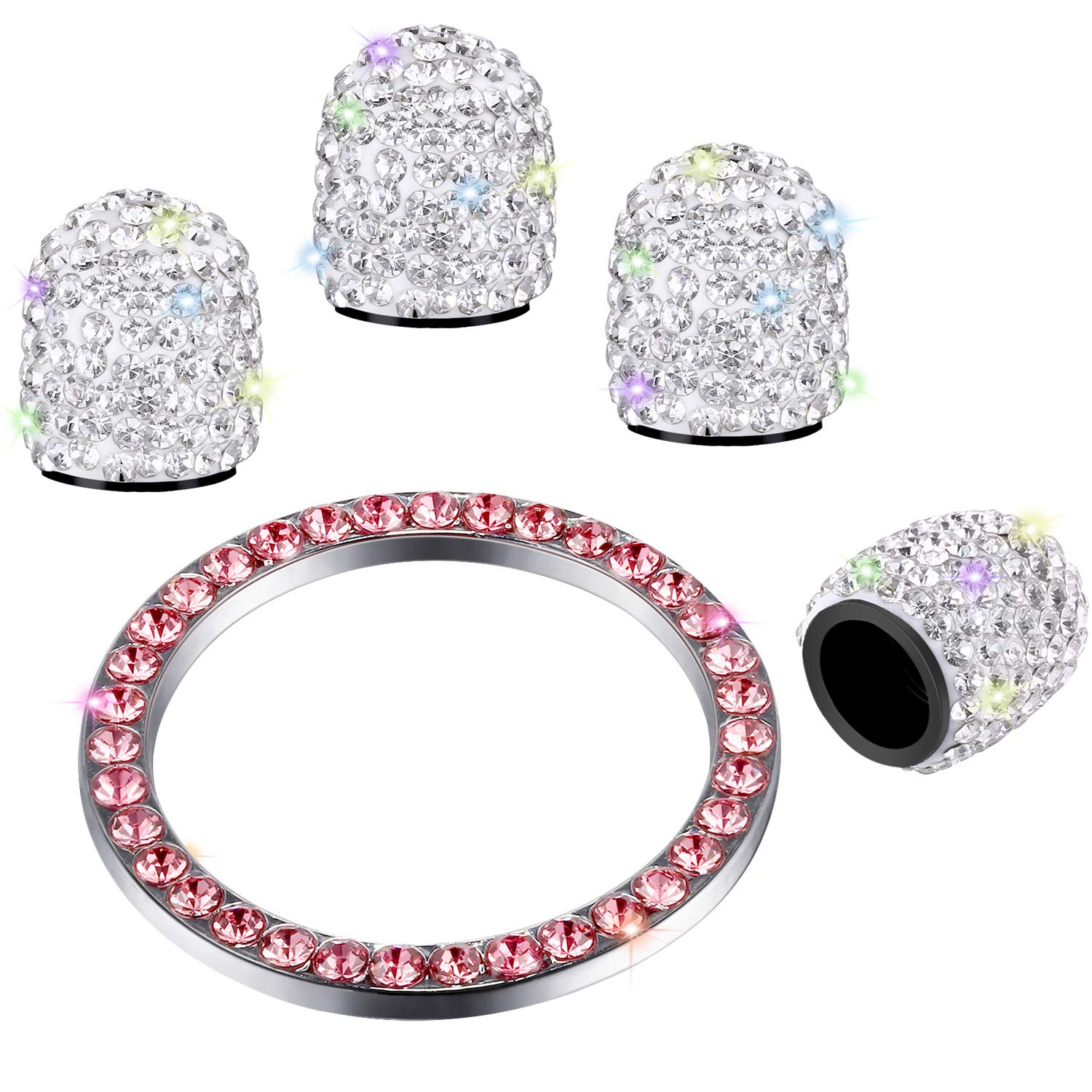 Valve Stem Caps 4 Pack Handmade Crystal Rhinestone Universal Tire Valve Dust Caps Bling Car Accessories with 1 Piece Ring Emblem Sticker for Auto Start Engine Ignition Button Key and Knobs (WhitePink)
