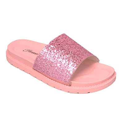 a694b214242 Forever Link Glitter Slide in PVC Molded Footbed Flatform Sandal Slippers  (5