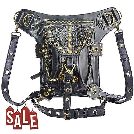 6700e42f4ea3 Valentoria Mens Womens Steampunk Punk Waistbag Shoulder Bag Crossbody Bag  Thigh Leg Hip Holster Purse Belt