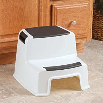 2 Step Stool Plastic up to 280 lbs Two Tier Portable Steps Indoor Outdoor