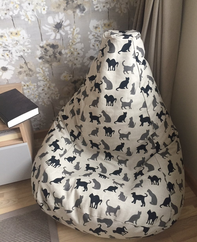 Excellent Black Cat Bean Bag Chair Natural Linen Beanbag Cover Inzonedesignstudio Interior Chair Design Inzonedesignstudiocom