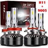 TURBO SII Extremely Bright 9005/HB3 High Beam H11/H8/H9 Low Beam Combo LED Headlight Bulbs Conversion Kit, DOT Approved…