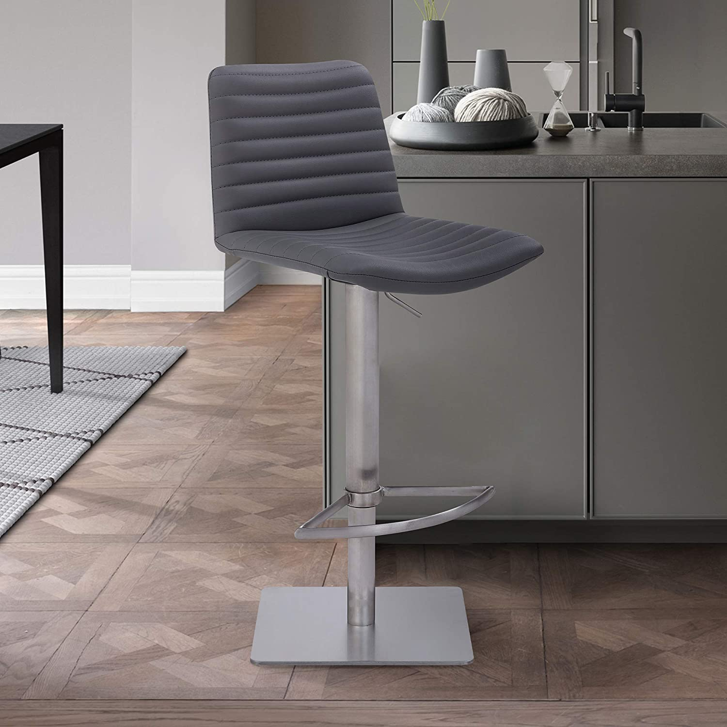 """Armen Living Carson Contemporary Faux Leather Swivel Kitchen Barstool, 33-43"""" Adjustable Height, Gray and Stainless Steel"""