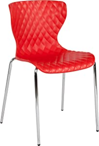 Flash Furniture Lowell Contemporary Design Red Plastic Stack Chair