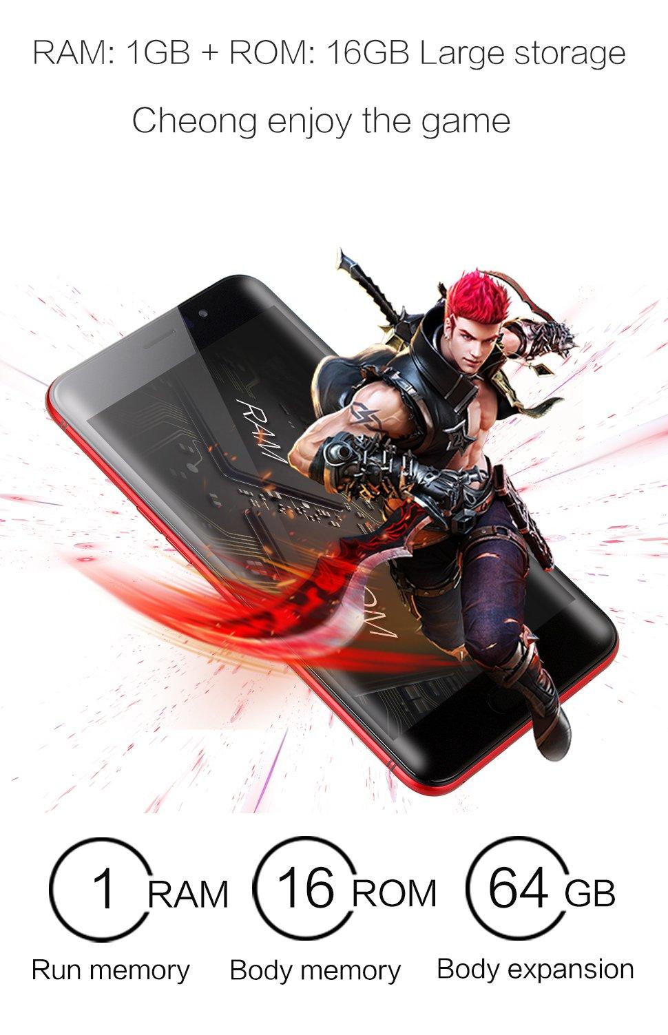 SORAKA Smartphone débloqué MTK6580A 5,5 pouces ROM 16 Go + RAM 1 Go Carte mémoire 64G Android 5.1 Appareil photo (5MP + 8MP) (Noir)