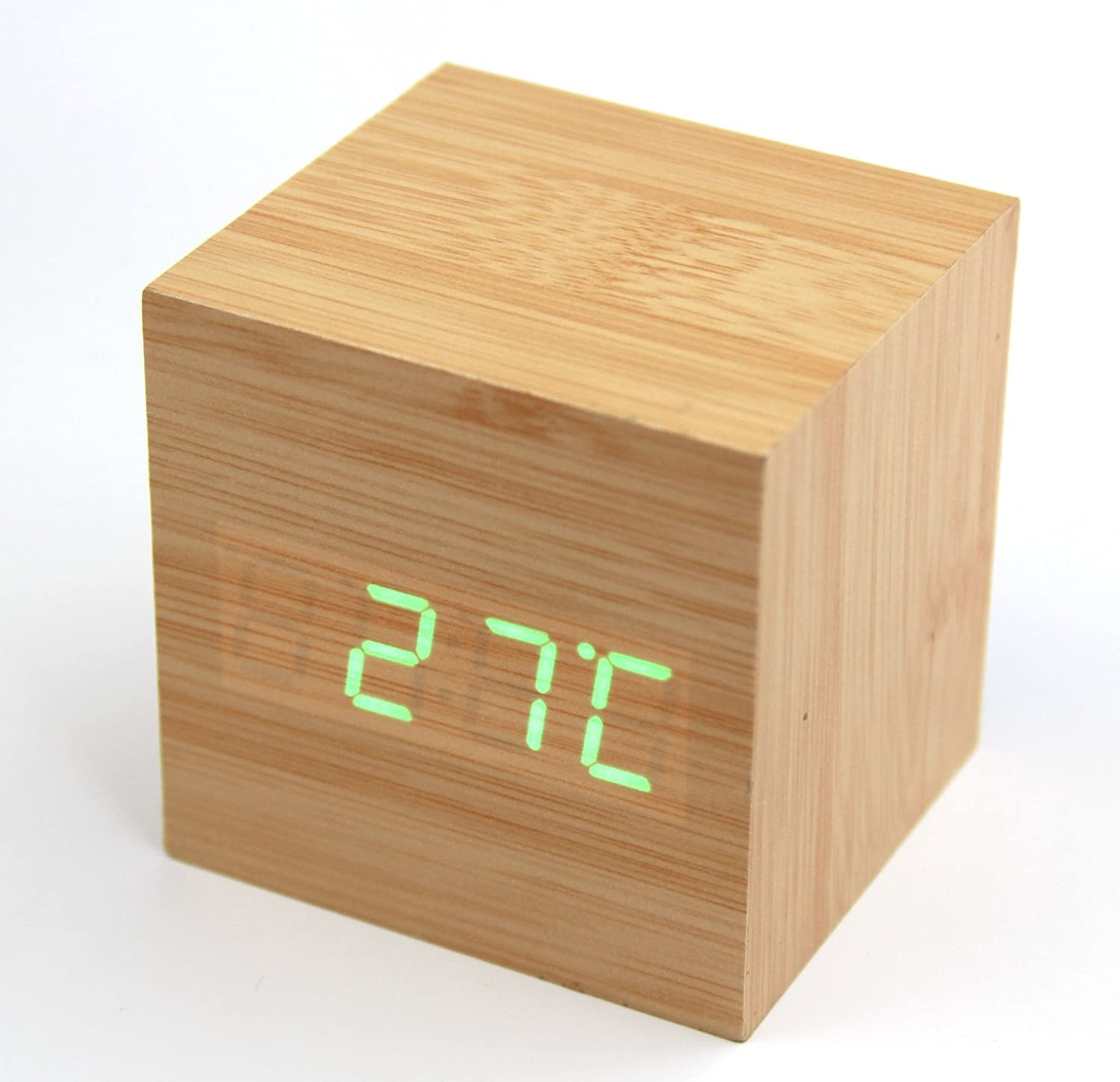 RayLineDo Fashion Bamboo Wood Cube Mini Green LED Wooden Digital Alarm Clock -Time Temperature Date Display - Voice and Touch Activated