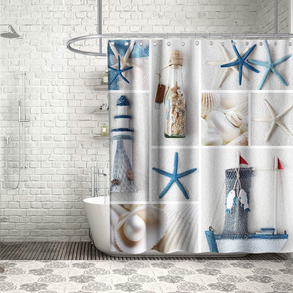 "Nautical Beach Seashell Starfish Sail Boat Shower Curtain Bathroom Fabric 70x70"""