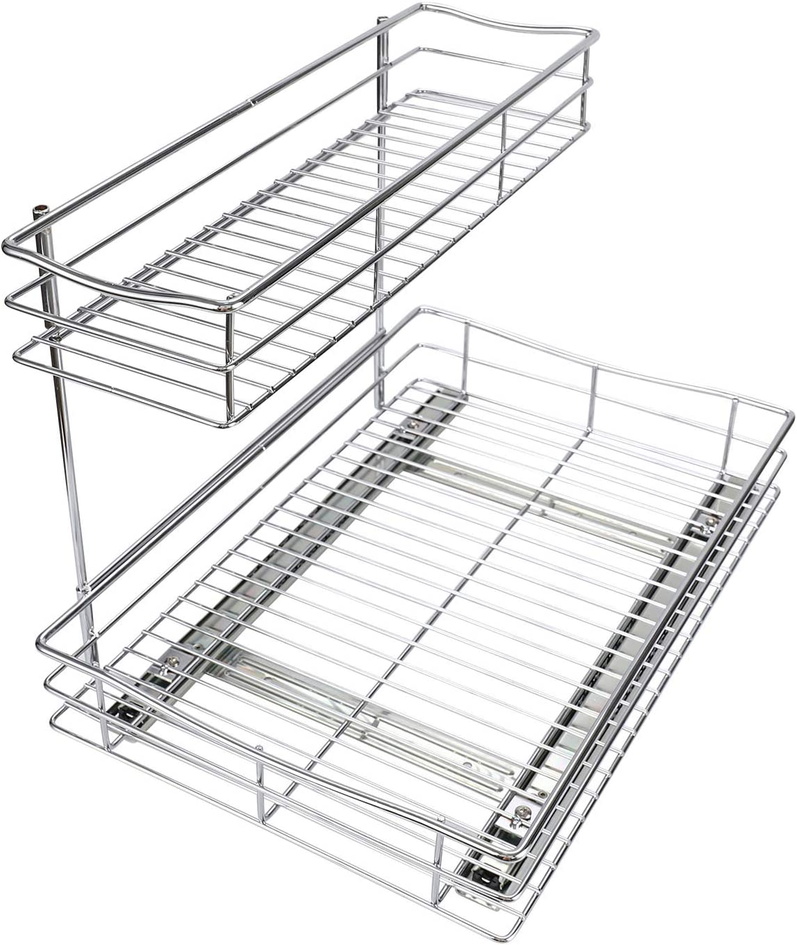TQVAI Pull Out Under Sink Cabinet Organizer 2 Tier Slide Wire Shelf Basket - 11.49W x 17.08D x 11.85H - Request at Least 12 inch Cabinet Opening