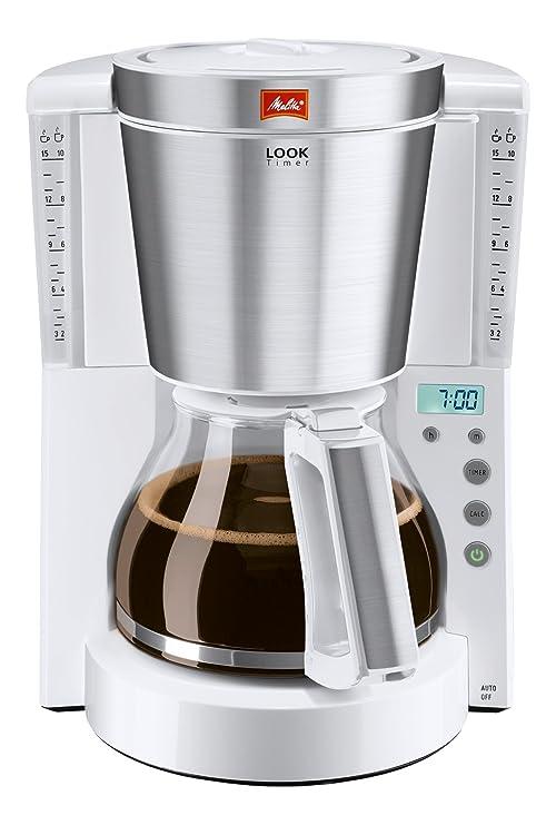 Melitta Look Timer Cafetera de Filtro, 1000 W, 1.25 litros, Acero Inoxidable, Blanco