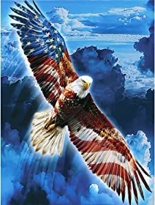 5D Full Drill Diamond Painting Kits for Adults Kids DIY Flag and Eagle Gem Art Craft Paint with Round Diamonds for Home Wall Decor(13.7x17.7inch/35x45cm)
