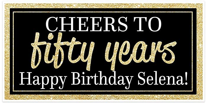 amazon com custom chic 50th birthday banner black and gold