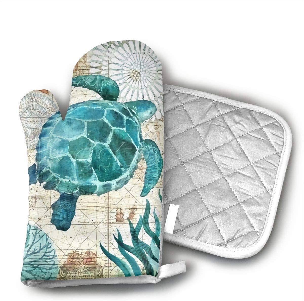 HEPKL Oven Mitts and Potholders Marine Life Theme Sea Turtle Non-Slip Grip Heat Resistant Oven Gloves BBQ Cooking Baking Grilling