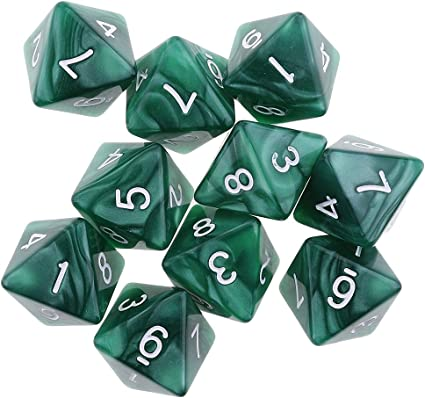 10pcs 8 Sided Dice D8 Polyhedral Dice for Dungeons and Dragons Dice White
