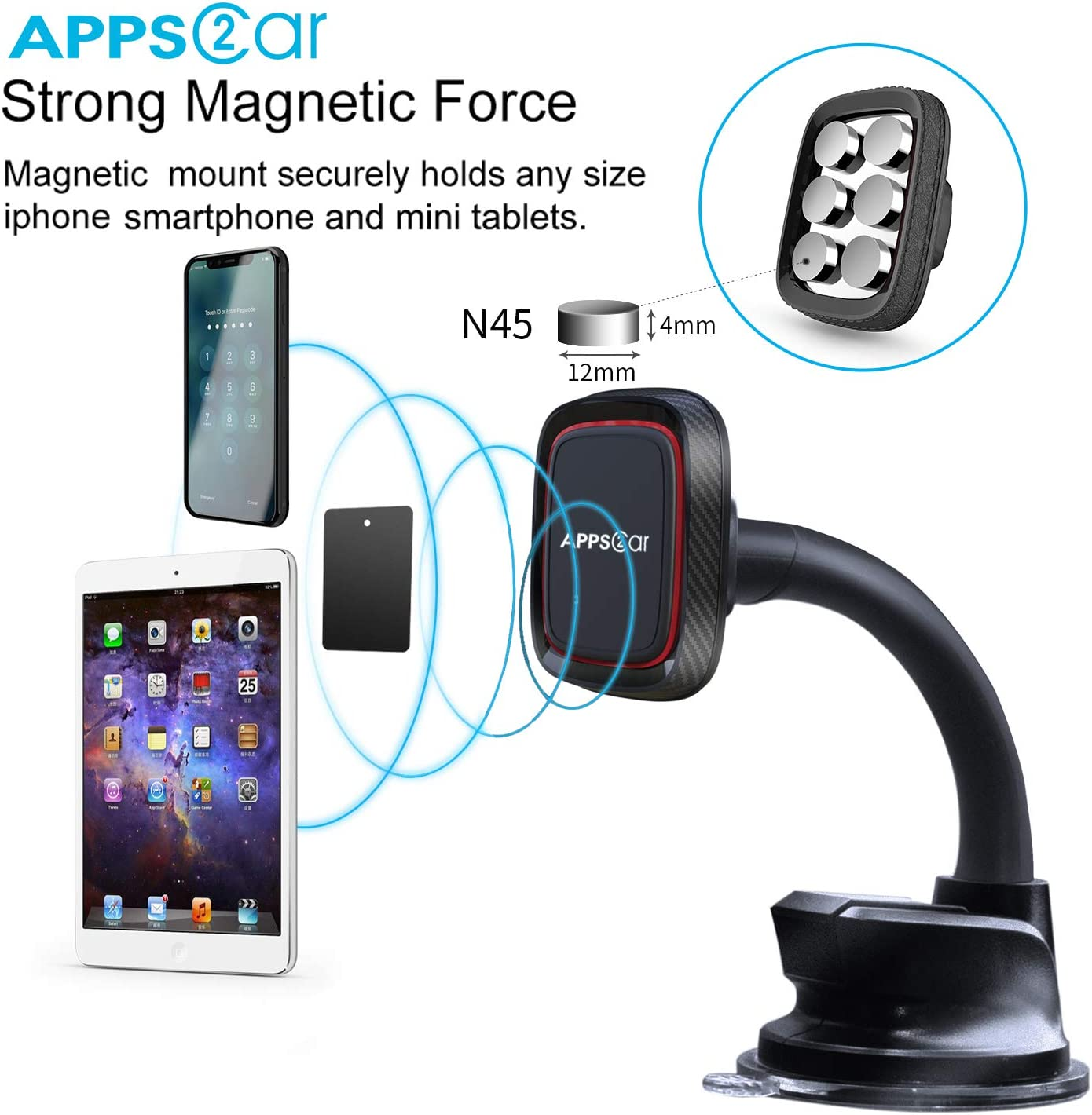Com//W Larger and Heavy Devices Magnetic Phone Car Mount APPS2Car XL Universal Dashboard /& Windshield Car Phone Mount with 6 Strong Magnet,Phone Holder for Car with Strong Suction Cup