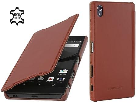 StilGut Book Type Case ohne Clip, Hülle aus Leder kompatibel mit Sony Xperia Z5 Premium / Z5 Dual Premium, Cognac