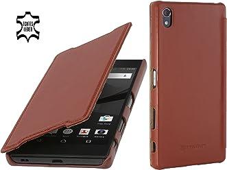 StilGut Book Type Case Senza Clip, Custodia in Vera Pelle a Libro per Sony Xperia Z5 Premium & Sony Xperia Z5 Dual Premium, Cognac