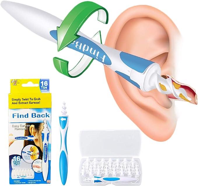 Limpiador de Oídos, Soft Silicone Limpiador de Orejas, Limpiador Oidos Espiral en Segura con 16 Piezas de Repuesto Lavables,para niños y adultos.