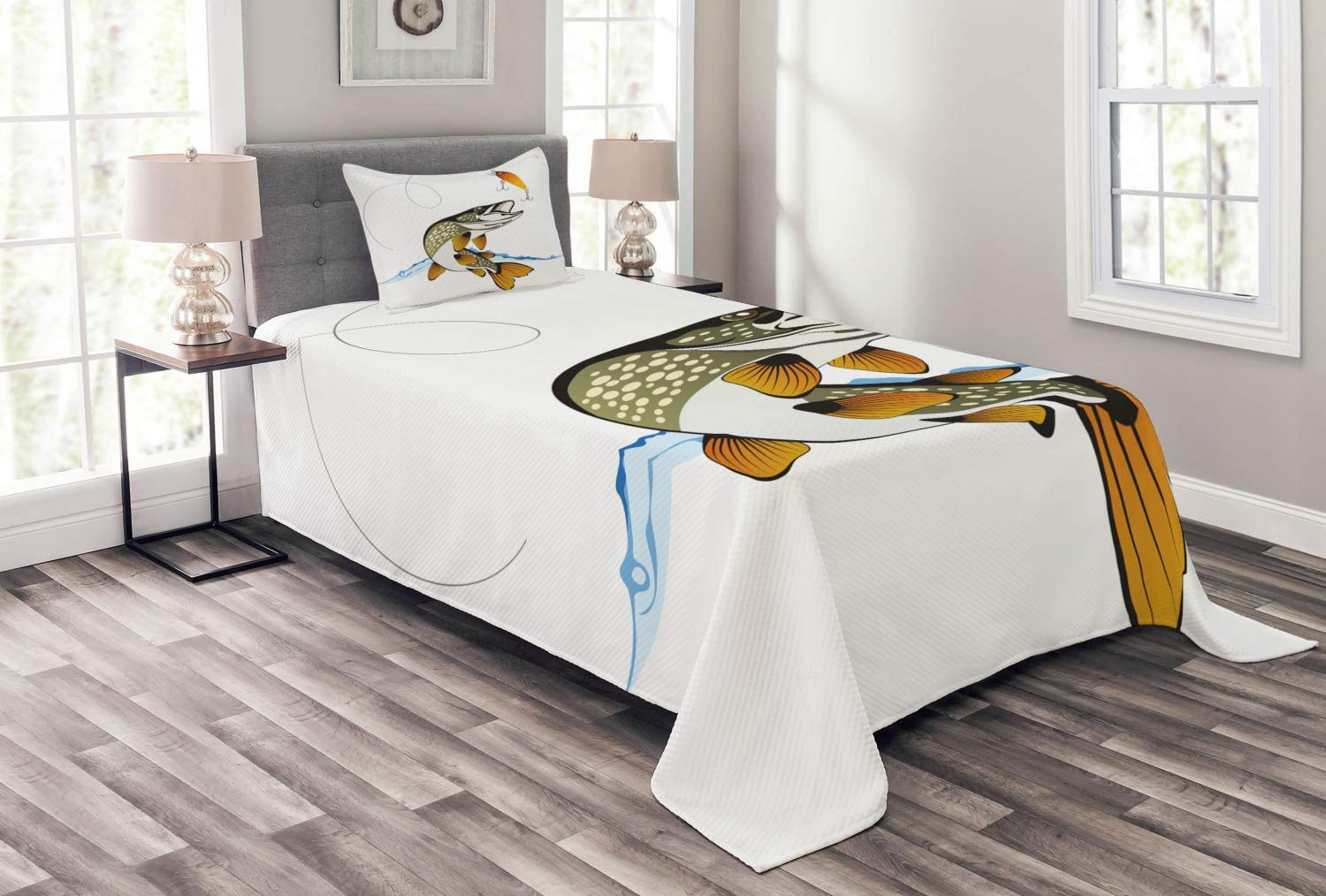 Lunarable Fishing Bedspread, Pike Out of Water Splash to Catch The Trap Lure Tackling Marine Life Illustration, Decorative Quilted 2 Piece Coverlet Set with Pillow Sham, Twin Size, Pale Orange