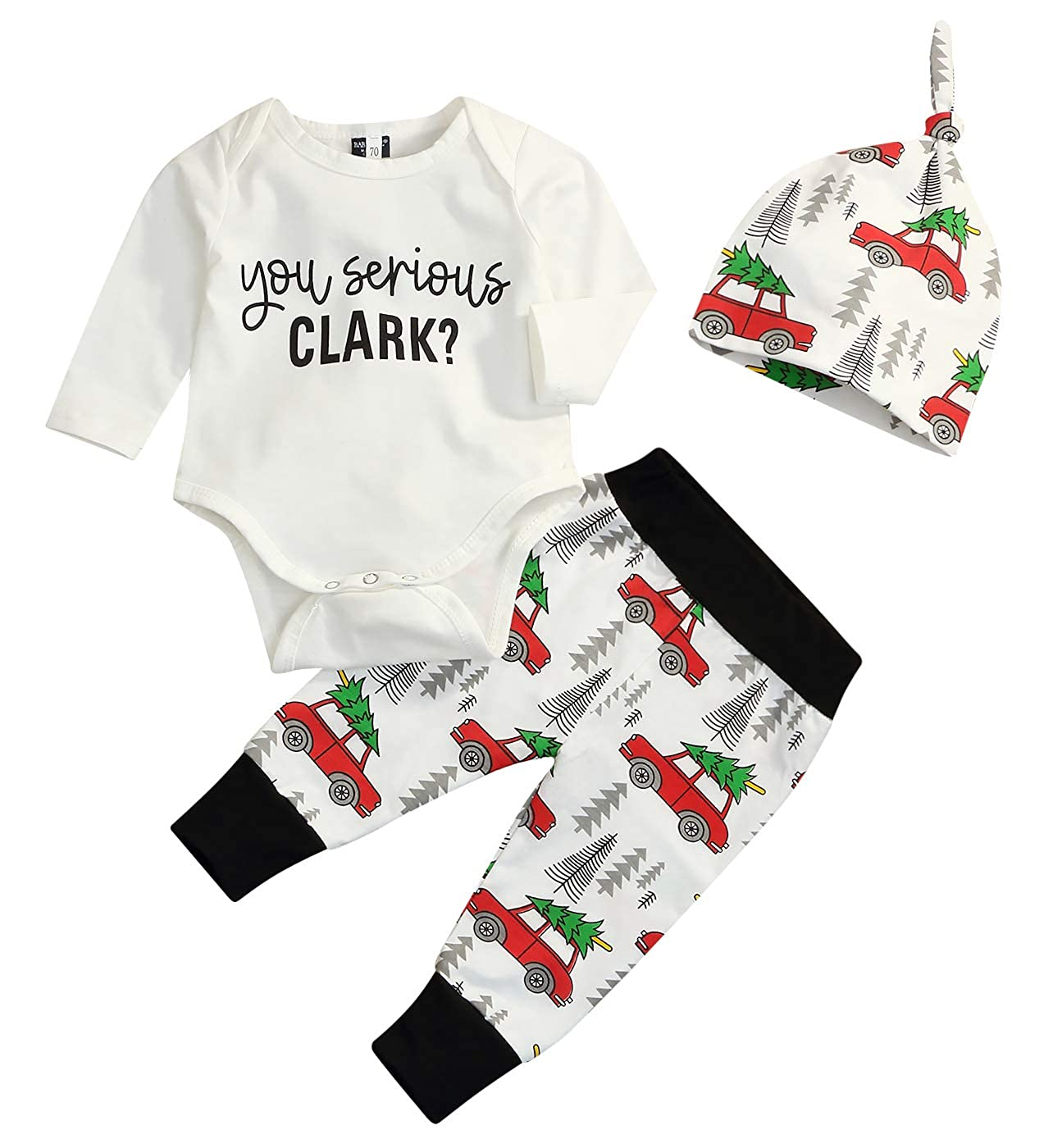 Newborn Infant Baby Christmas Car Spring Clothes Romper Tops +Long Pants Outfit 3Pcs Set