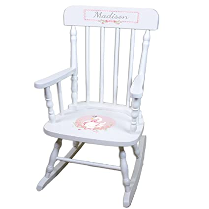 Awesome Amazon Com Personalized Swan White Childrens Rocking Chair Ncnpc Chair Design For Home Ncnpcorg