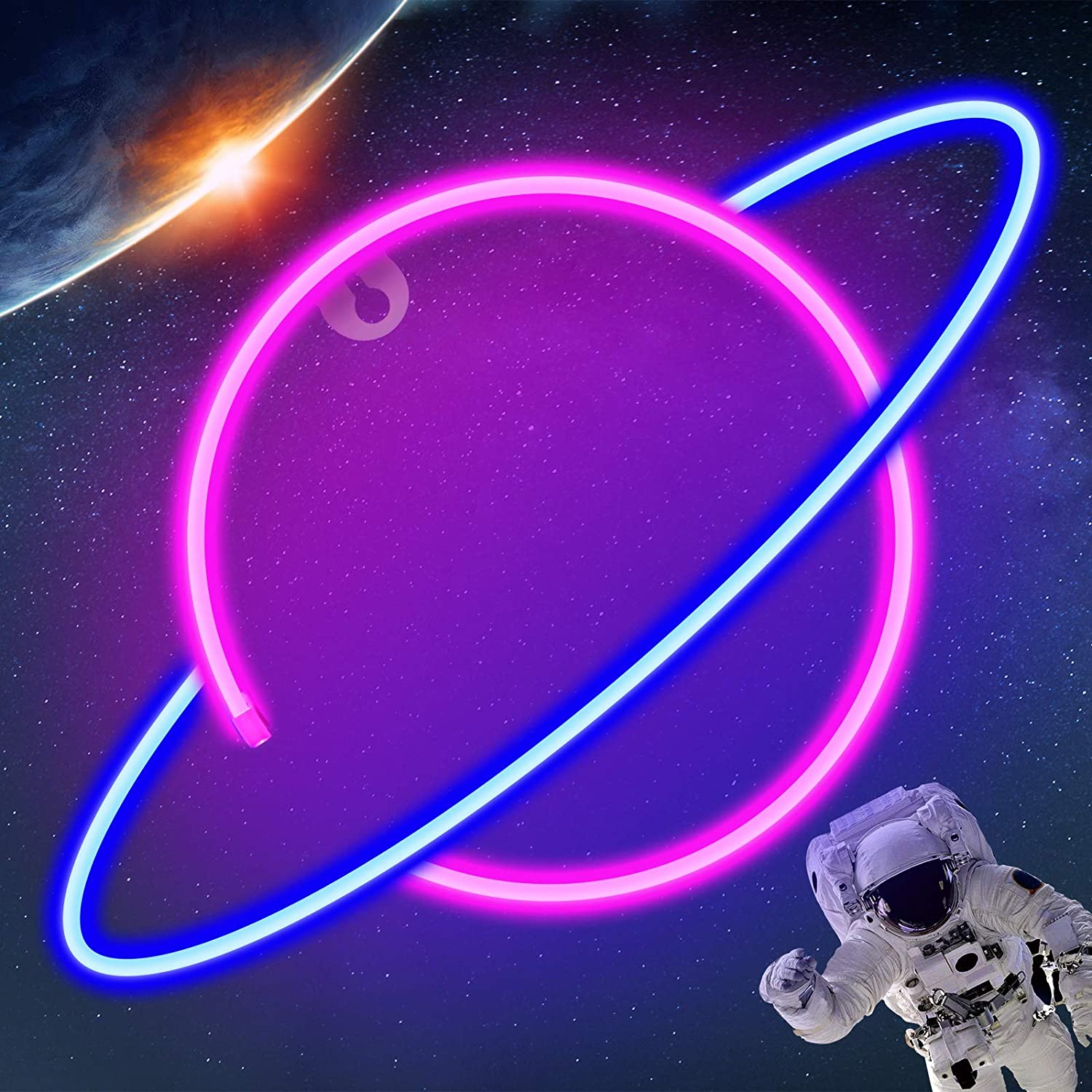 OurWarm Planet Neon Light Signs for Wall Decor, Led Neon Wall Signs Use Battery or USB Operated, Led Light Sign Light up Signs for Bedroom Home Bar Christmas Wedding Birthday Party